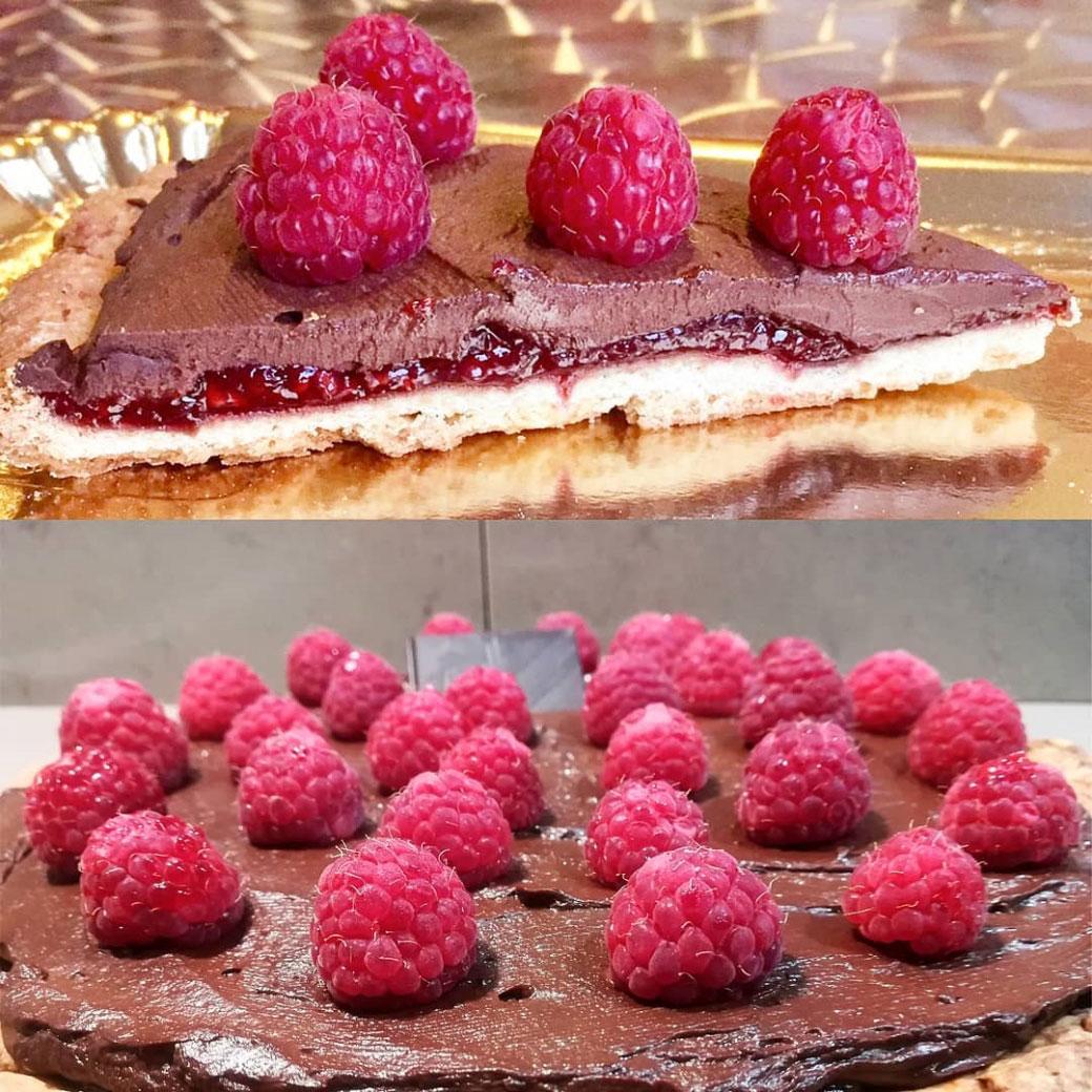 Crostata della Monica con marmellata di lamponi e ganache al cioccolato