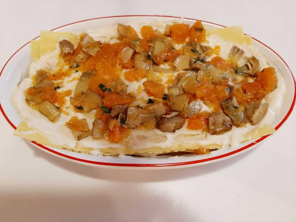 Lasagne  con zucca e carciofi della Monica