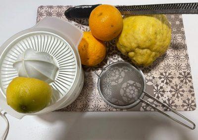 Lavate bene gli agrumi, spremeteli in uno spremiagrumi più scorza di agrumi per la decorazione